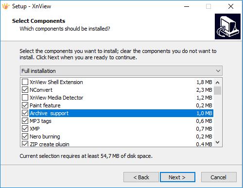 Окно выбора варианта установки программы